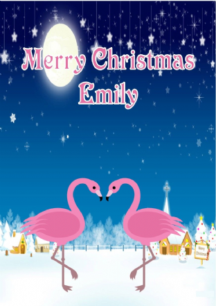 Personalised Flamingo Christmas Card